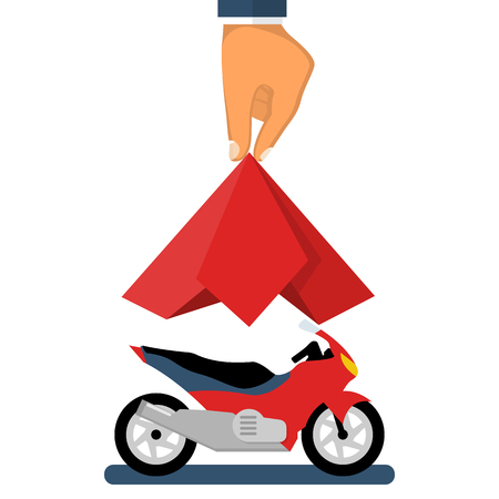 Presentation motorcycle. Moto covered red silk. Man hand take off cloth with chopper. Vector illustration flat design. Isolated on white background. Showing surprise . Exhibition new model. Иллюстрация