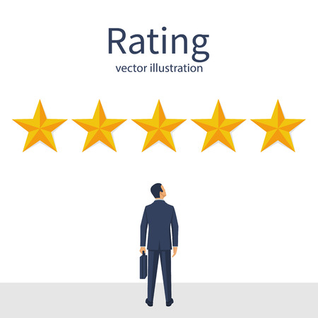 Star rating. Businessman looks gold star, to give five. Feedback concept. Evaluation system. Positive review. Vector illustration flat design. Isolated on white background. Quality work.