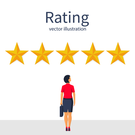Star rating. Businesswoman looks gold star, to give five. Feedback concept. Evaluation system. Positive review. Vector illustration flat design. Isolated on white background. Quality work.