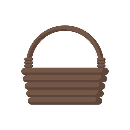 Wooden wicker basket. Vector illustration flat design. Isolated on white background. Illustration
