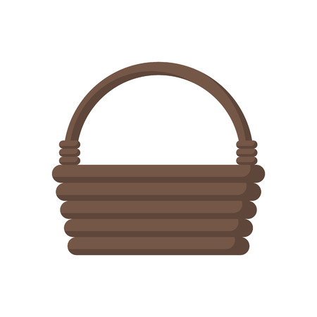 Wooden wicker basket. Vector illustration flat design. Isolated on white background.  イラスト・ベクター素材