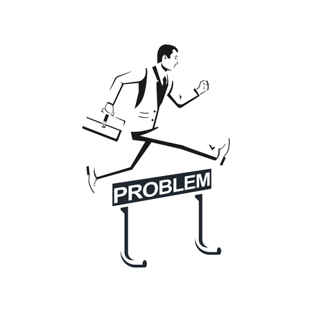Businessman in suit silhouette with briefcase confidently jump o