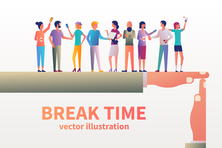 Break time concept. Gesture as a symbol of a break in work. Vector illustration flat design style. Group of people communicate and drink coffee. Lunchtime in office. Modern young people.