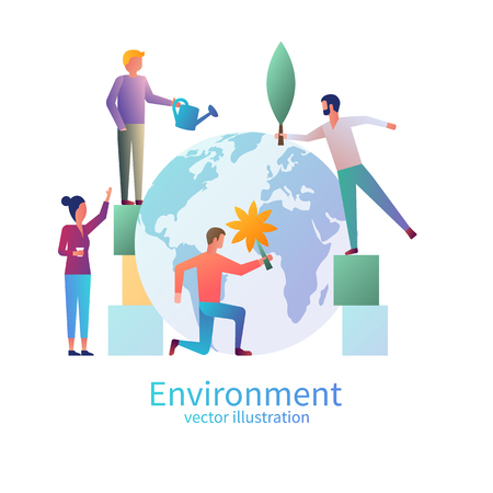 Little people care for the environment. Protection concept the Earth. Save the planet. Vector illustration flat design. Isolated on white background. World Environment Day. Posters, greeting card.