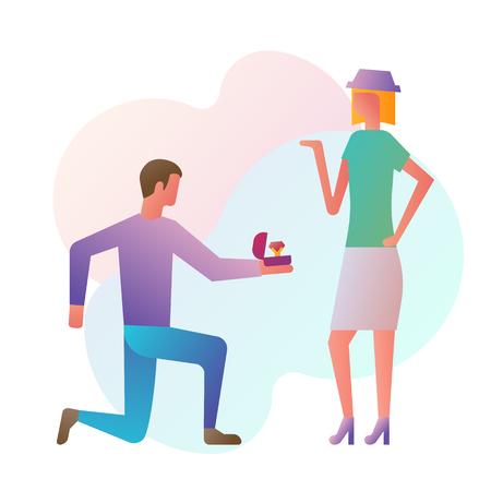 Proposition de mariage, design plat d'illustration vectorielle. L'homme debout sur le genou tient dans la main une boîte ouverte avec une alliance et un diamant. Design plat d'illustration vectorielle. Isolé sur fond blanc.
