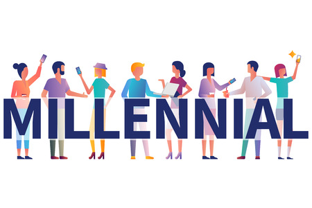 Millennial concept. Group students with gadgets in their hands. Vector illustration flat design. Isolated on white background. Modern fashionable young people. Generation y.  イラスト・ベクター素材