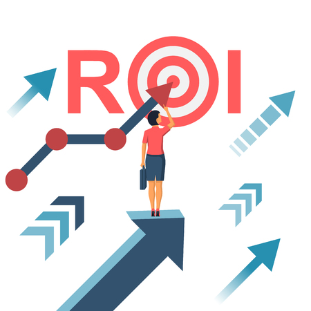 ROI concept. Return on investment. ROI business marketing. Profit income. Businesswoman managing financial chart. Vector illustration flat design. Isolated on white background. Analysis data.