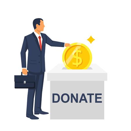 L'homme jette une pièce d'or dans une boîte pour les dons. Pièce d'or à la main. Faire un don, donner de l'argent. Illustration vectorielle, conception de style plat.