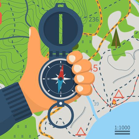 Brújula en mano. Dispositivo de navegación magnético. Equipo para orientación del viajero. La investigación de la zona. Diseño plano de ilustración vectorial. Aislado en el fondo del mapa turístico. Ilustración de vector