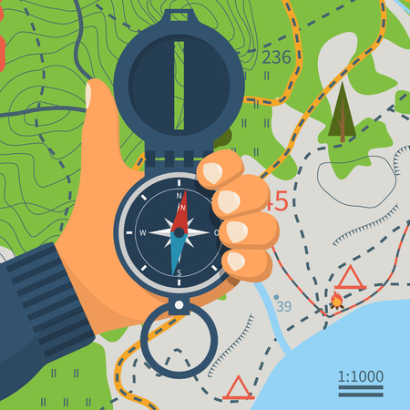 Compass in hand. Magnetic navigation device. Equipment for orientation of the traveler. The investigation of the area. Vector illustration flat design. Isolated on tourist map background. Vettoriali