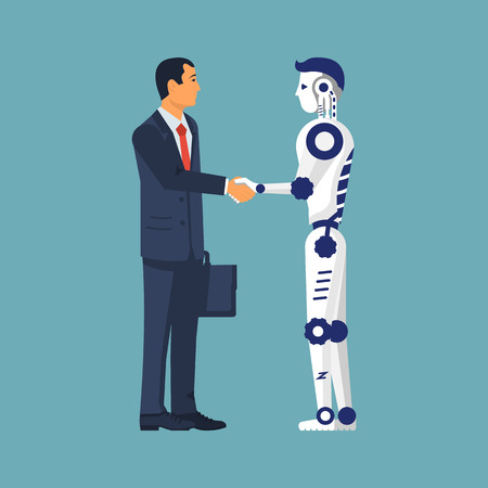 Future cooperation. Artificial intelligence. Businessman and robot handshake as a symbol technological development, innovation. Vector illustration flat design. Isolated on white background.