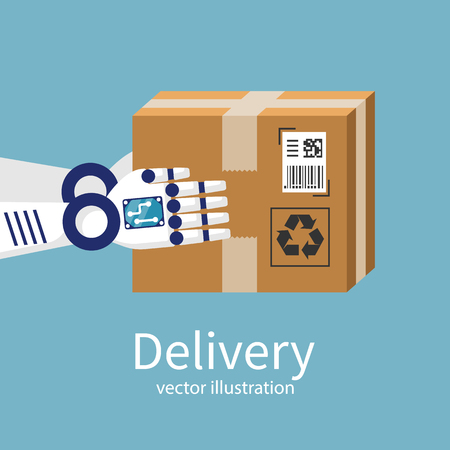 Robot does the delivery. A cardboard box in the hands of the courier. Delivery future. Vector illustration flat design. Modern technology. Isolated on background.