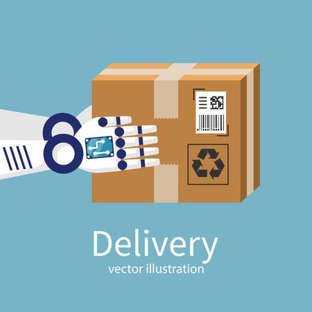 Robot hace la entrega. Una caja de cartón en manos del mensajero. Futuro de entrega. Diseño plano de ilustración vectorial. Tecnología moderna. Aislado en el fondo.