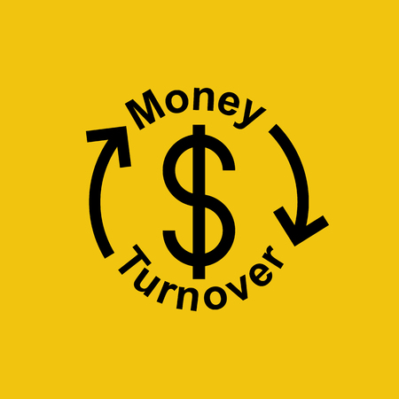 Money turnover sign. A dollar icon with circular arrows as a symbol of the exchange of cash flows. Vector illustration flat design. Isolated on background.