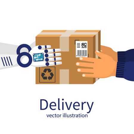 Delivery courier. Robot give the cardboard box to the person. Delivery future. Vector illustration flat design. Modern technology. Isolated on background.