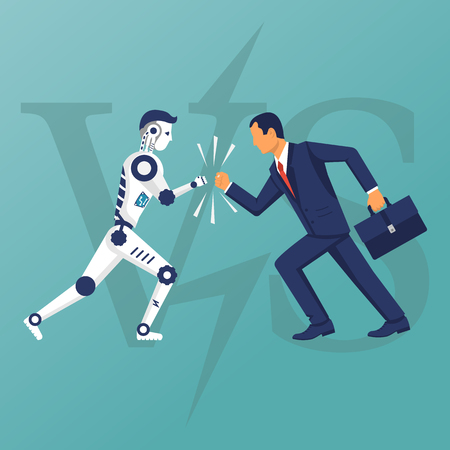 Robot vs human. Versus concept. Vector illustration flat design. Isolated on background. Businessman with the robot collided in battle. Conflict ai with humanoid. Banque d'images - 110014218