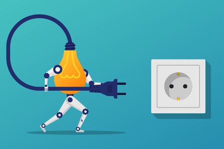 Connect idea. Lightbulb robot holding cord electrical plug conne Illustration