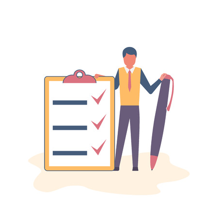 Successful execution of tasks from the to do list. Positive businessman with pen and clipboard. Completion tasks. Vector illustration flat design. Isolated on white background. Getting things done.  Stock Illustratie