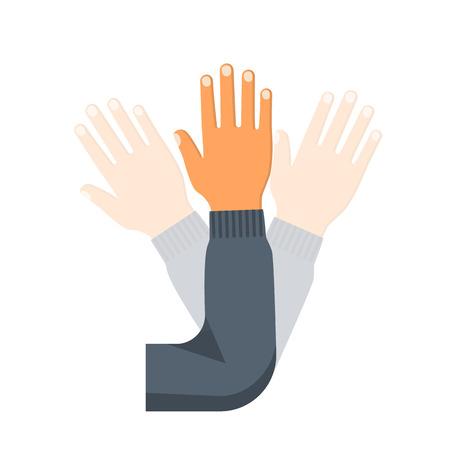 Hand wave. Human waving hi or hello Imagens