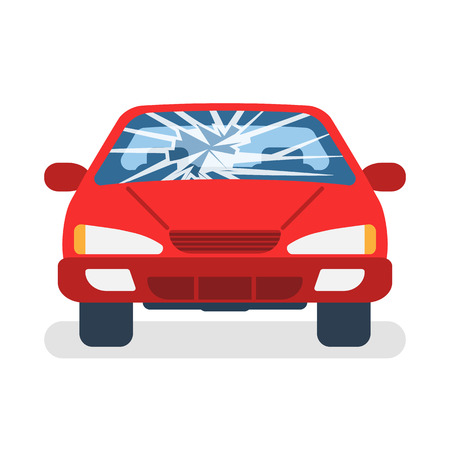 Parabrezza auto rotto. Incidente d'auto. Vetro danneggiato. Design piatto di illustrazione vettoriale. Isolato su sfondo bianco. Vettoriali