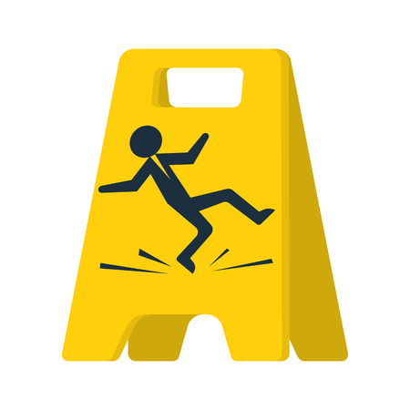 Floor sign of danger. Cleaning in progress. Wet floor sign. Falling silhouette man is on the floor. Pictogram of danger. Isolated yellow symbol on white background. Vector illustration flat design.