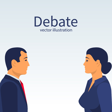 Debate male and women. Man face to face with a woman. Collided in battle. Versus concept. Vector flat design. Isolated on background. Business conflict. Meeting of opponents. Public dialog voters.