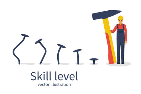 Skill level concept. Man holding a hammer in hand hammer nails, training. From beginner to skilled expert.Symbol of successful training and persistence.Vector illustration flat design. Illustration