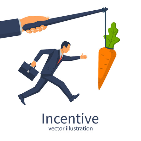 Incentive concept. Business metaphor. Personnel management leadership. Motivate people. Big hand holds carrots on stick, businessman running for bait. Vector illustration flat design. Attract earn.
