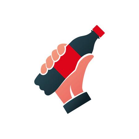 Botella de icono de silueta negra de soda sostenida en la mano. Cola en pictograma de alquitrán de plástico. Diseño plano vectorial. Aislado sobre fondo blanco. Símbolo de bebida de comida rápida. Bebida carbonatada Ilustración de vector