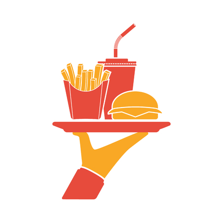 Waiter delivers the food silhouette. Service in cafe fast food, man with a tray. Fast food pictogram: hamburger, fries, soda. Vector illustration flat design.Takeaway food.
