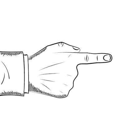 Hand finger pointing drawing style.
