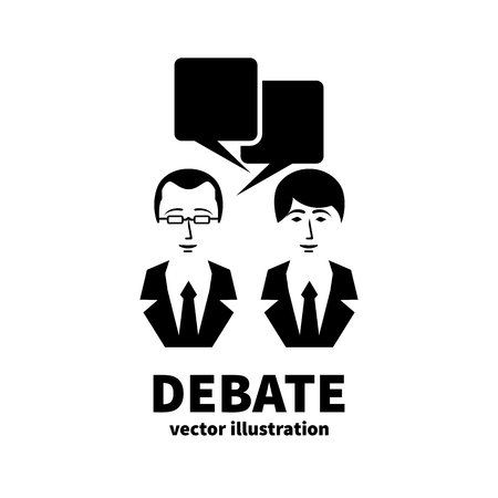 Discussion icon. Sign debate. Silhouettes of two people talking with bubble. Political meeting of opponents. Business conversational battle. Vector illustration flat design. Public dialog voters.