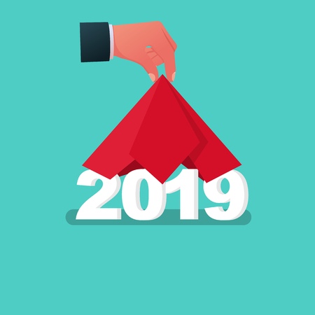 2019 Happy New year. Man hand take off cloth with 2019. Covered red silk. Vector flat design. Isolated on white background. Merry Christmas. Vettoriali