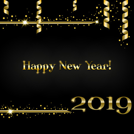 Creative greeting card Happy New Year 2019 on a black background. Luxury gold numbers and text with confetti and shimmering tinsel, serpentine and sparkle stars. Used as a flyer, poster, invitations. Иллюстрация