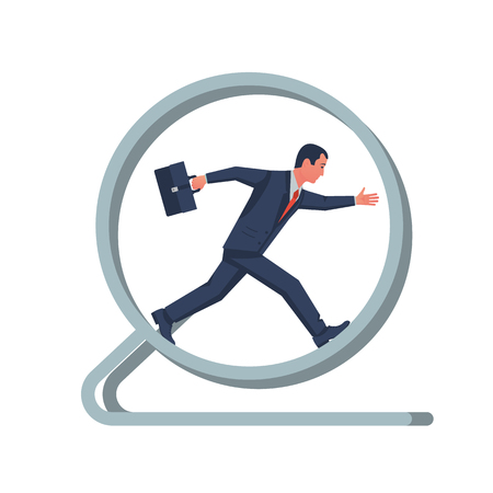 Running in wheel. Businessman in a suit with a briefcase. Office worker. Vector illustration flat design. Isolated on white background. Business concept. Vektorové ilustrace