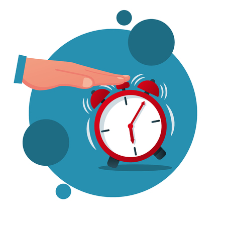 Turns off alarm clock cartoon icon. Vector illustration flat design. Isolated on white background. Man presses the alarm button.