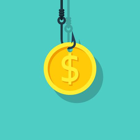 Pièce de monnaie sur le crochet. Appât en dollars. Hameçon. Concept de piège à argent. Design plat d'illustration vectorielle. Isolé sur fond.