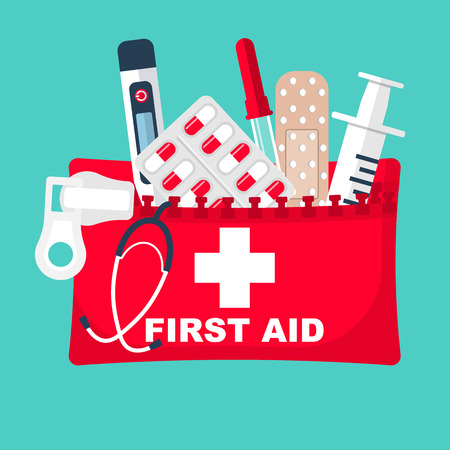 First aid kit. Medical equipment and medications.