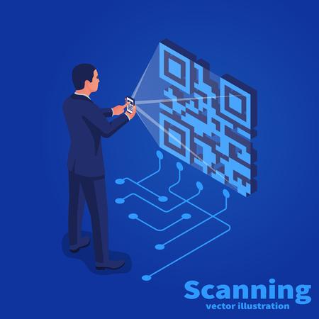 Scansione del codice QR sul telefono cellulare. Disegno isometrico di illustrazione vettoriale. Isolato su sfondo. Tecnologia digitale moderna. Scansione rapida del codice.