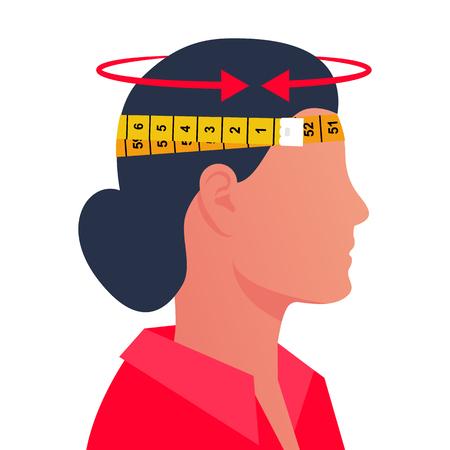 Una mujer midiendo su cabeza con un centímetro. Diámetro de la cabeza. Diseño plano de ilustración vectorial. Aislado sobre fondo blanco. Quita el tamaño.