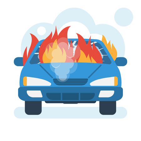 Burning car icon. Car on fire. Broken auto covered with fire and smoke. Vector illustration flat design. Isolated on white background.