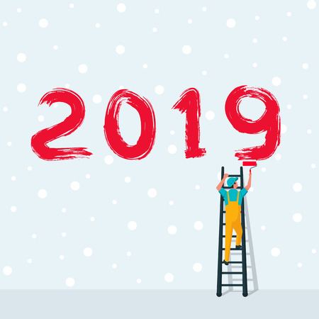 Happy New Year. Human on ladders are holding roll brushes and writing the number 2019. Snow background. Brush numbers. Vector illustration flat design.