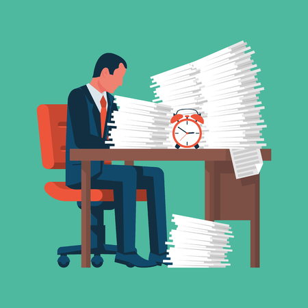 Businessman working with a pile of papers. A lot of work. A stack of documents. Vector illustration flat design. Isolated on background. Paperwork concept. Archivio Fotografico - 126352173