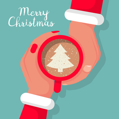 Man and woman in Santa Claus costumes are hold cup of coffee with cream, drawing chocolate christmas tree. Hot drink. Happy New Year and Merry Christmas banner, template. Vector illustration flat