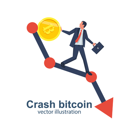 Crash bitcoin concept. Cryptocurrency decline. Bitcoin price drops. Vector illustration flat design. Isolated on white background. Businessman running down the arrow. Gold coin falling down.