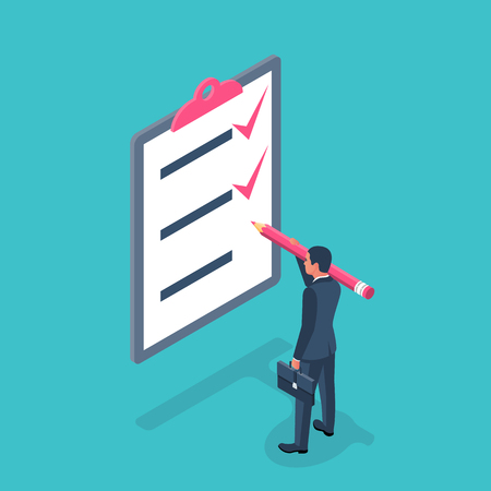 List completed tasks. Vector illustration isometric design. Isolated on white background. Checklist successfully completed. Red checkbox. Businessman holding a big pencil. Completion goal. Checkbox Ilustración de vector