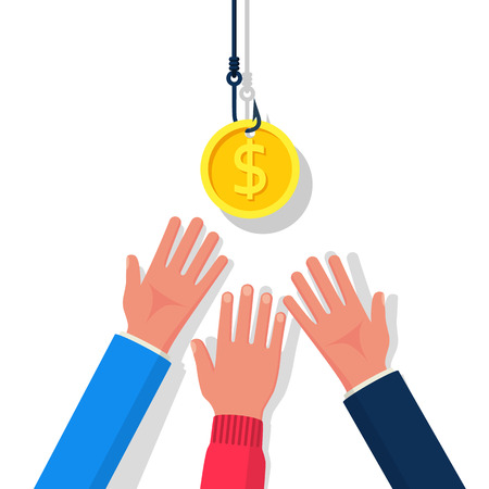 Münze am Haken. Dollar-Köder. Konzept der Geldfalle. Flaches Design der Vektorillustration. Auf Hintergrund isoliert. Hand, die nach kostenlosem Geld greift. Finanzielle Köder. Gier-Konzept.