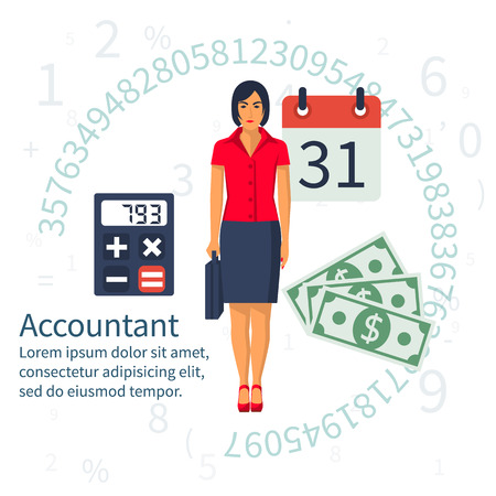Accountant, businesswoman. Set icons flat design. Concept of accounting and calculation. Vector illustration. Woman working with finances, reports, statistical, analysis, calculation of profit, income