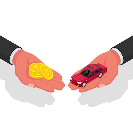 Comprar o alquilar un auto Ilustración de vector