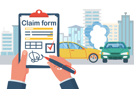 Insurance claim form. Accident concept